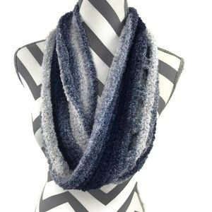 Handmade Hand knitted Blue White Circle Scarf